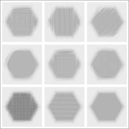 Set of halftone abstract forms Vector illustration.