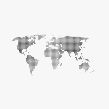 Halftone world map on gray background. Illustration