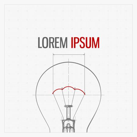 lampada: Blueprint di lampada della lampadina. Illustrazione stilizzata. Vettoriali
