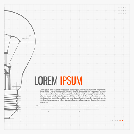lamps: Blueprint of bulb lamp. Stylized vector illustration.