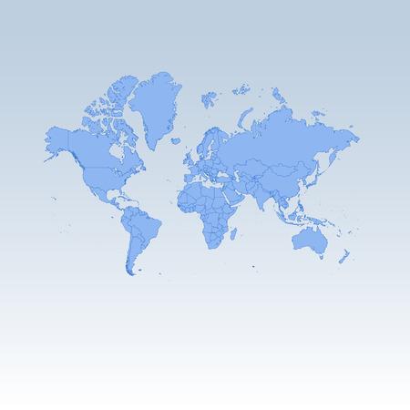 Blue detailed worldmap isolated on white blue gradient background. Vector illustration.