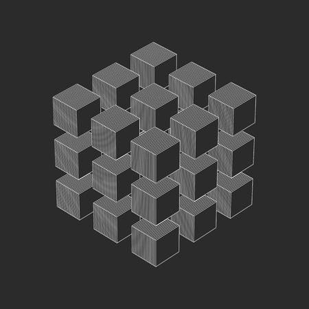 Abstract 3D cubes wallpaper background vector illustration Иллюстрация