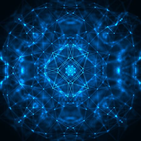 Abstrract geometric figure with multiple connections. Futuristic virtual technology background.