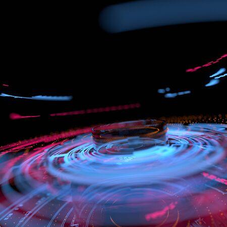 Futuristic graphic user interface. Glowing circular pattern.