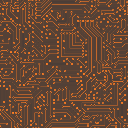 Computer circuit board. Seamless pattern. Vector illustration Vetores