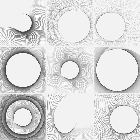 Set of striped abstract forms. Surrealistic optical illusions. Vector illustration.