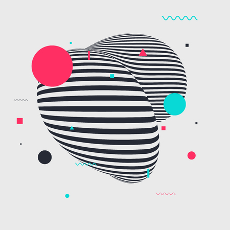 Memphis style geometric pattern with different geometric forms. Vector illustration with striped figure and abstract geometric elements. Vector Illustration