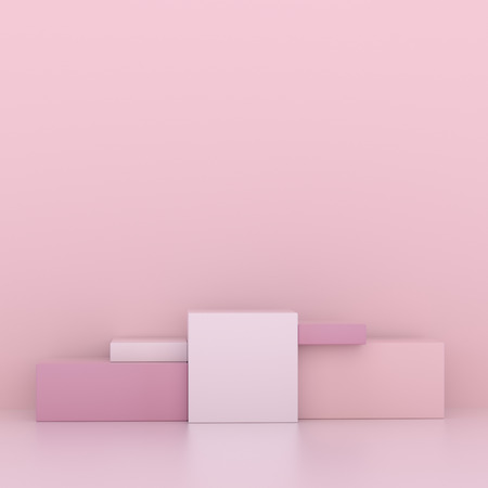 Minimalistic showcase with empty space. Design for product presentation in trendy, modern style. 3d render. Stock Photo