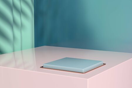 Escaparate minimalista con espacio vacío. Diseño para presentación de productos en estilo moderno y actual. Render 3D. Foto de archivo