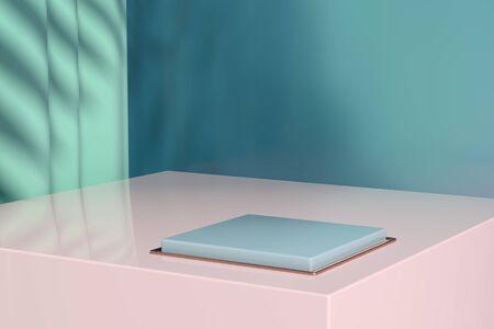 Minimalistische Vitrine mit leerem Raum. Design für die Produktpräsentation im trendigen, modernen Stil. 3D-Rendering. Standard-Bild