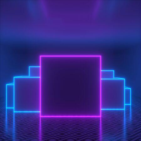 Blank frame in empty dark room with neon lights. 3d render.