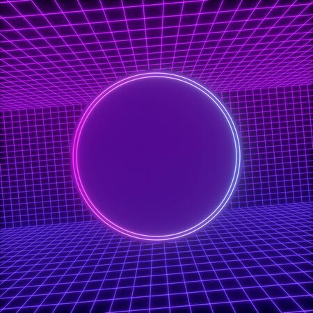 Abstract background with a colorful dynamic grid. Glowing lines on dark background. 3d rendering.