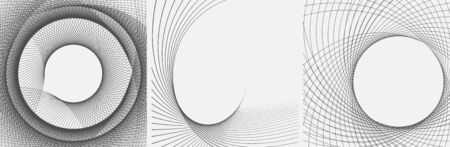 Set of striped abstract forms. Dynamic curved lines. Wavy vector pattern. Vettoriali