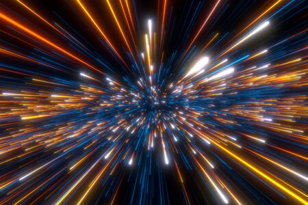 Speed of light in space on dark background. Abstract background in blue, yellow and orange neon colors.