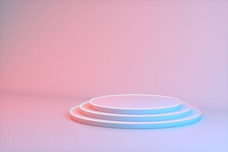Minimalistic showcase with empty space in pink, red and blue neon colors. Design for product presentation in trendy, modern style. 3d render.