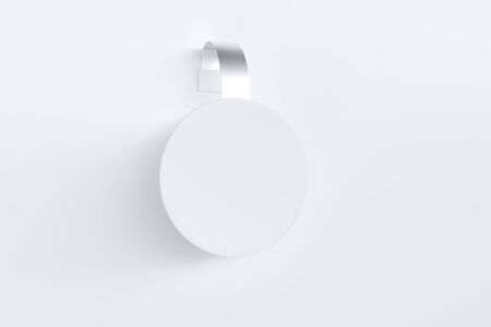 Plastic white wobbler with metallic stripe. Archivio Fotografico