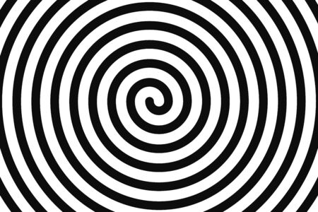 Concentric hypnotic spiral. Concept illusttration of hypnosis, vertigo. Abstract vector background.