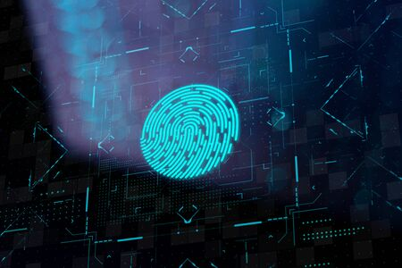 Biometric identification system on lcd screen with blured reflection. Fingerprint scan in futuristic style. Digital identity verification. Archivio Fotografico