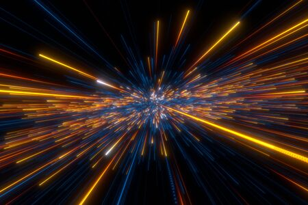 Speed of light in space on dark background. Abstract background in blue, yellow and orange neon colors. 3D rendering. Archivio Fotografico