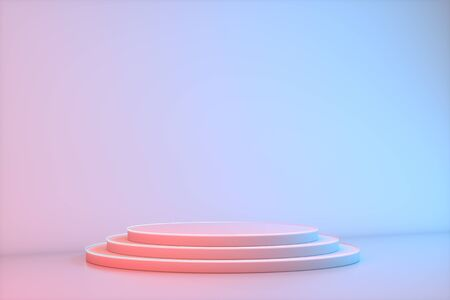 Minimalistic podium showcase with empty space in pink, red and blue neon colors. Design for product presentation in trendy, modern style. 3D rendering. Archivio Fotografico
