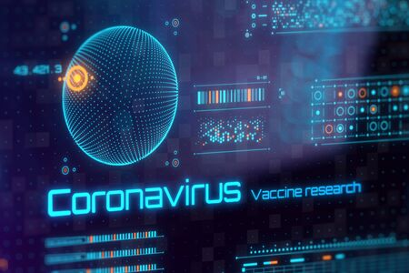 COVID-19 Coronavirus vaccine research on digital lcd display with reflection. Medical and scientific concept. 3D rendering.