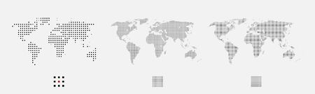 Set of dotted world maps in different resolution. Square pixel pattern. Modern digital globe. Black dots on white background. Abstract vector.