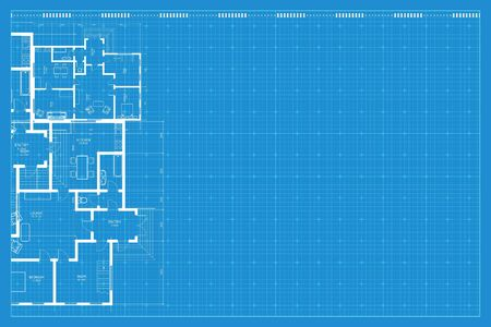 Architectural background. Blue print of building. Technical draw. Vector illustration. Vettoriali
