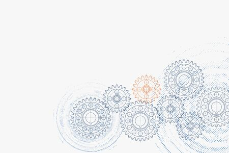 Technical background. Abstract parts of engine. Vector illustration. Vettoriali