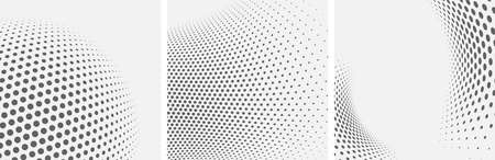 Set of dotted abstract forms. Grunge halftone vector background in black and white colors. Distressed overlay texture. Abstract pattern with circles, waves and swirls. Dot texture. 일러스트