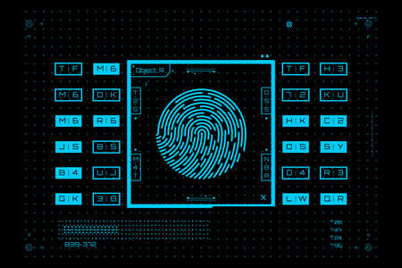 Biometric identification system. Fingerprint scan in futuristic style. Digital identity verification. Vector illustration.