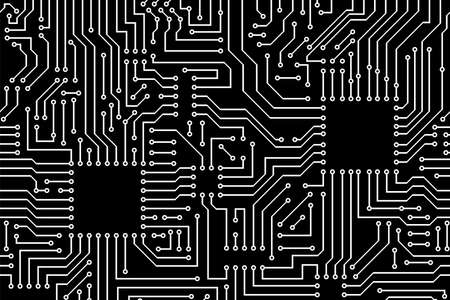 Computer circuit board pattern. Abstract vector illustration.