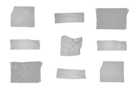 Set of various adhesive tape pieces isolated on white