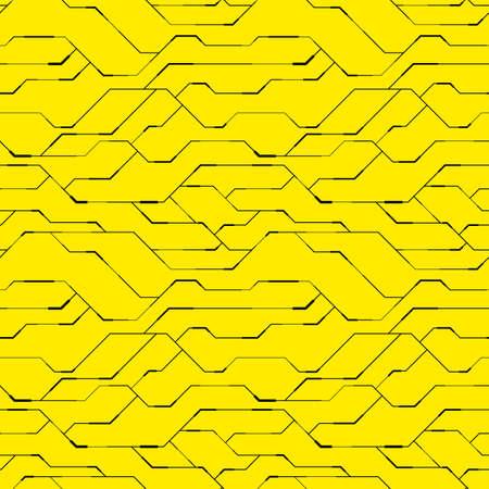 Seamless pattern of geometric design on yellow