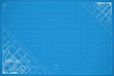 Abstract technology blueprint. Tech vector background. Technical illustration in blue and white color.