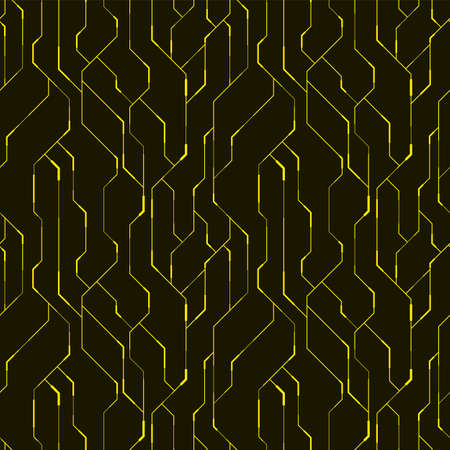 Seamless technology pattern. Geometric techno design. Abstract vector background in yellow and black color.