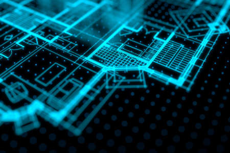 Architecture blueprint on digital lcd display with reflection. Abstract technology background. 3D rendering. Archivio Fotografico