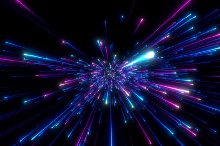 Abstract background in blue and purple neon glow colors. Speed of light in galaxy. Explosion in universe. Cosmic background for event, party, carnival, celebration or other. 3D rendering.