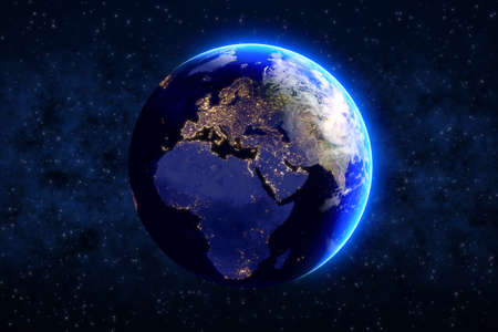 Earth planet on blue night sky with stars Stockfoto