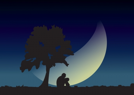 A man sitting on a tree feel sad with crescent moon illustrator Vector