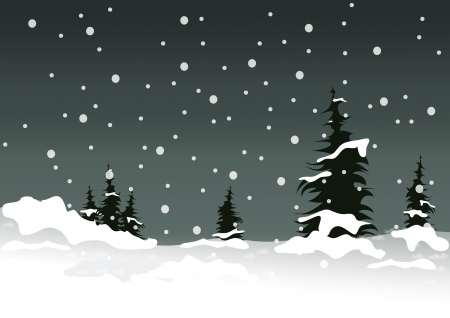 winter illustration with white snow and pines Vector
