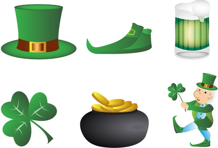 St. patrick day set 6 figures Vector