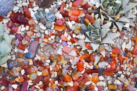 Gem Stones with tropical plants photo