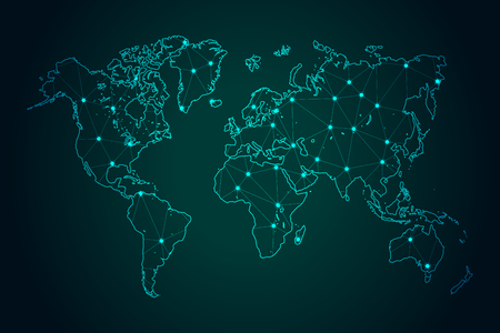 Map of World - With glowing point and lines scales on The Dark Gradient Background