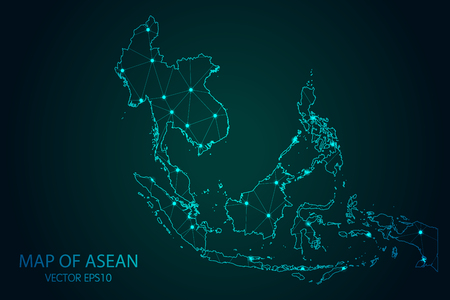 Map of Southeast Asia - With glowing point and lines scales on the dark gradient background Ilustração