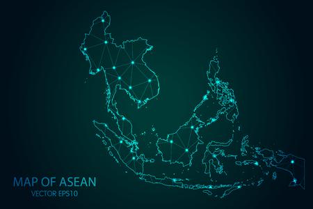 Mapa del sudeste asiático: con puntos brillantes y escalas de líneas en el fondo degradado oscuro Ilustración de vector