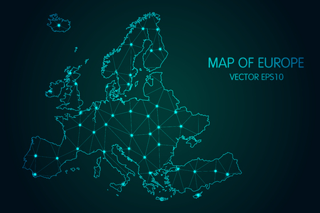 Map of Europe - With glowing point and lines scales on The dark gradient background