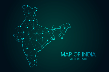 Map of India with glowing point and lines scales on the dark gradient background. 3D mesh polygonal network connections vector illustration.
