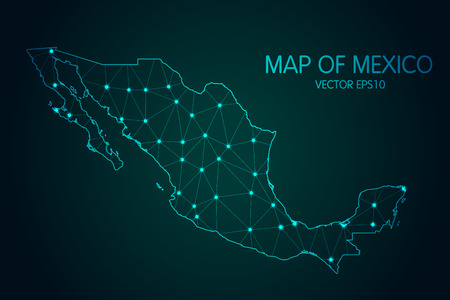Map of Mexico. With glowing point and lines scales on the dark gradient background