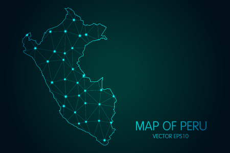 Map of Peru. With glowing point and lines scales on the dark gradient background Reklamní fotografie - 100205457