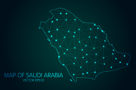 Map of Saudi Arabia. With glowing point and lines scales on the dark gradient background.